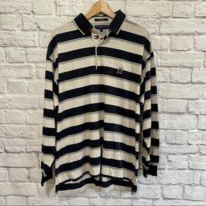 TOMMY HILFIGER GOLF Long Sleeve Polo T-shirt Tee Stripe